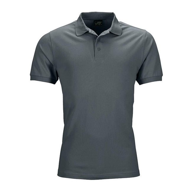 Graphite - Front - James and Nicholson Mens Elastic Pique Polo Shirt