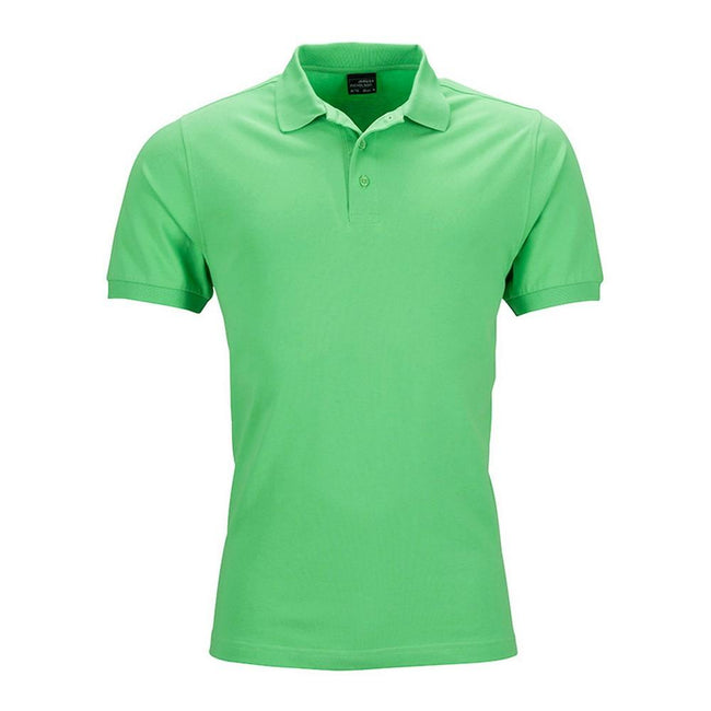 Lime Green - Front - James and Nicholson Mens Elastic Pique Polo Shirt