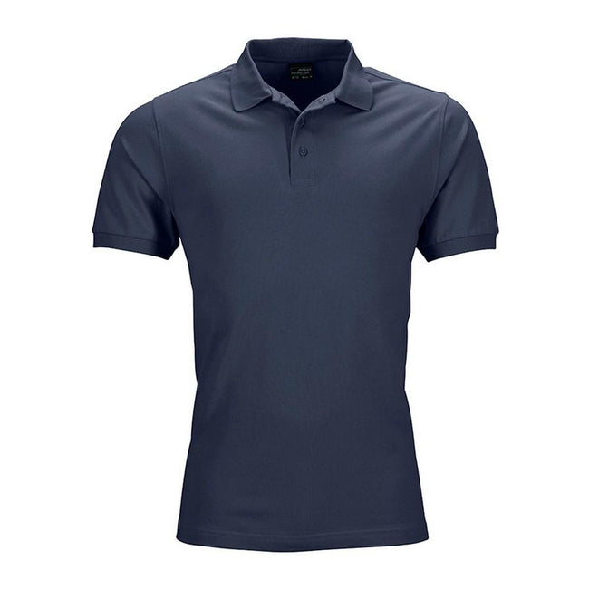 Navy - Front - James and Nicholson Mens Elastic Pique Polo Shirt