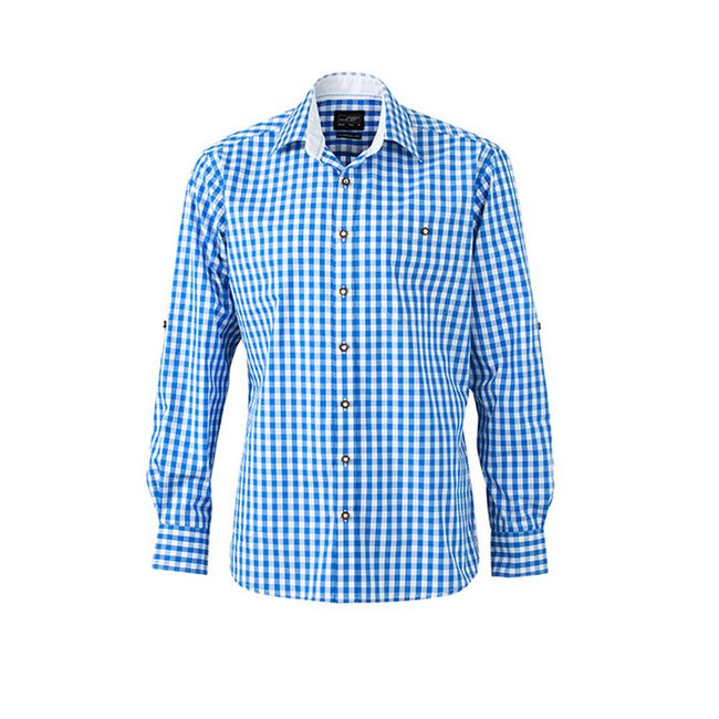 Royal Blue-White - Front - James and Nicholson Mens Traditional Shirt