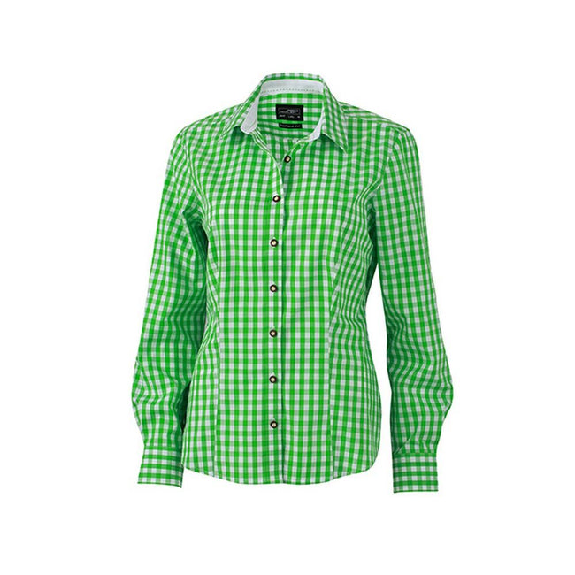 Green-White - Front - James and Nicholson Womens-Ladies Traditional Shirt