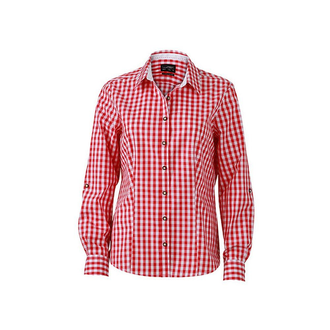 Red-White - Front - James and Nicholson Womens-Ladies Traditional Shirt