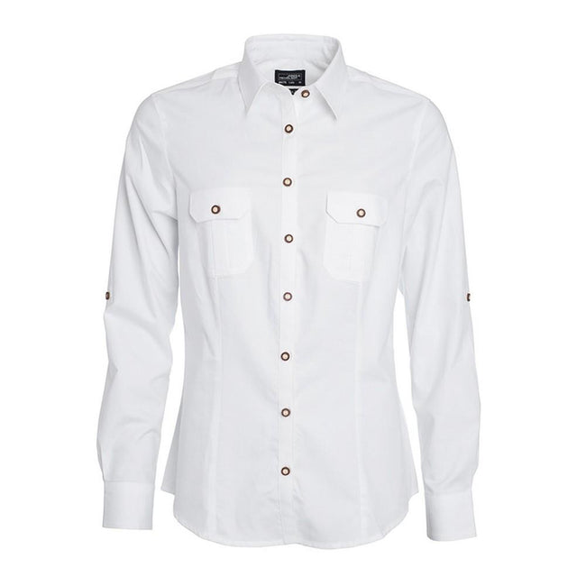 White - Front - James and Nicholson Womens-Ladies Traditional Plain Shirt