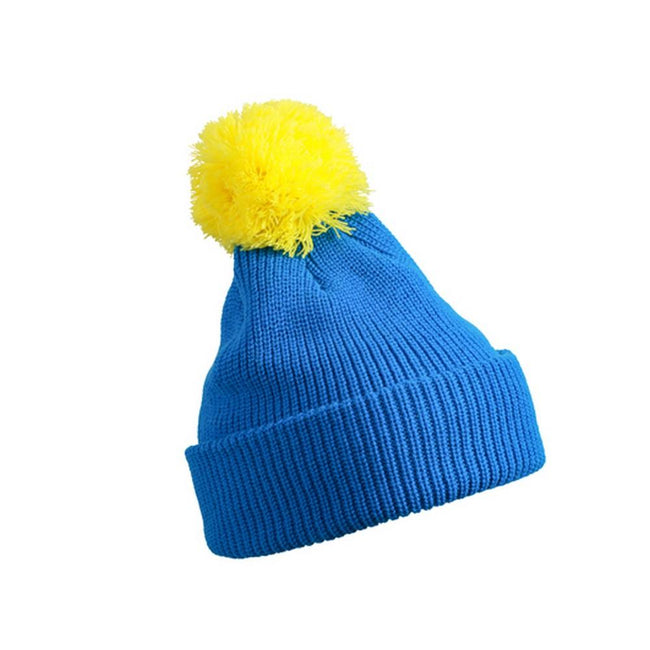 Azure Blue-Yellow - Front - Myrtle Beach Adults Unisex Pompom Hat With Brim