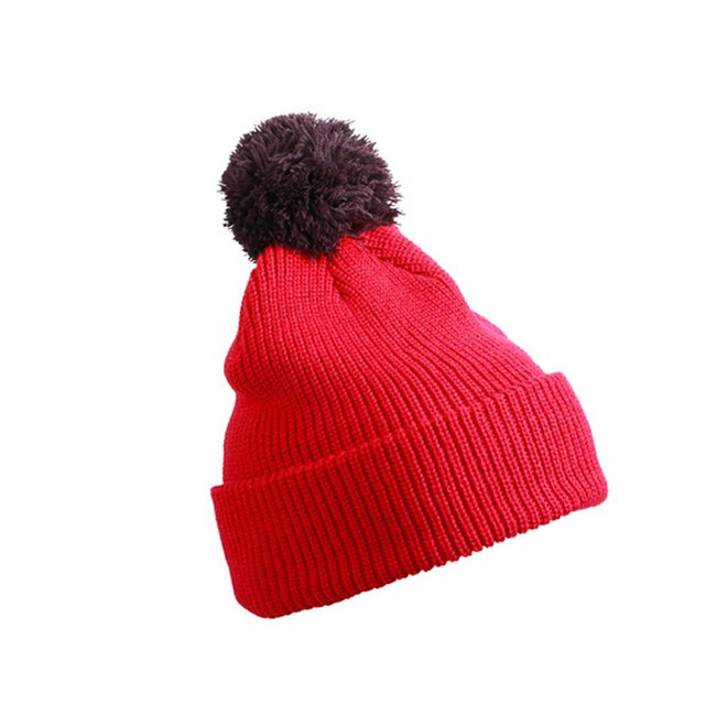 Berry Red-Maroon - Front - Myrtle Beach Adults Unisex Pompom Hat With Brim