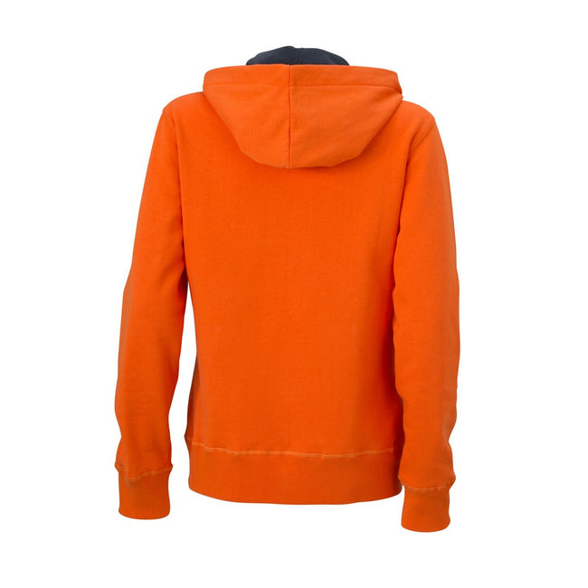 Dark Orange-Carbon - Back - James and Nicholson Womens-Ladies Hooded Jacket