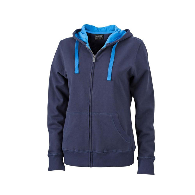 Navy-Cobalt - Front - James and Nicholson Womens-Ladies Hooded Jacket