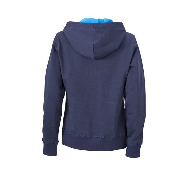 Navy-Cobalt - Back - James and Nicholson Womens-Ladies Hooded Jacket