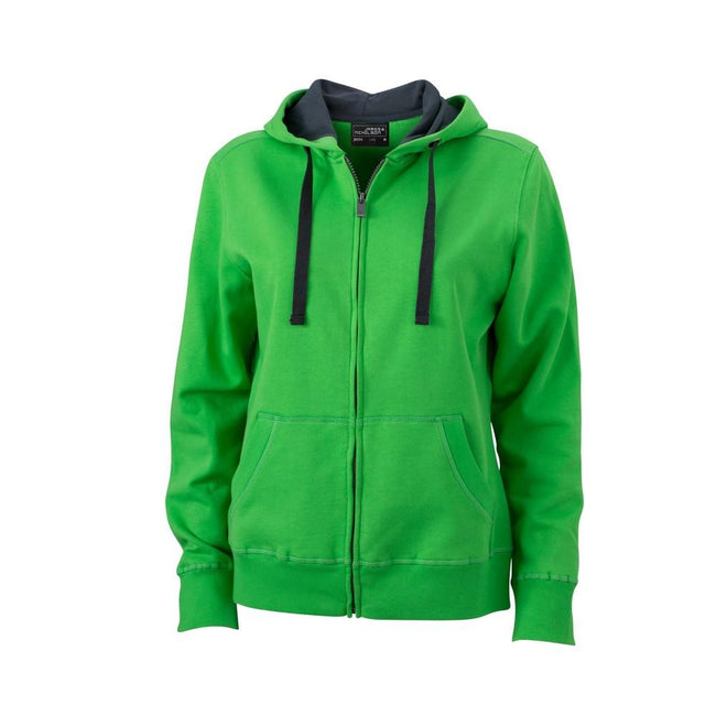 Green-Carbon - Front - James and Nicholson Womens-Ladies Hooded Jacket
