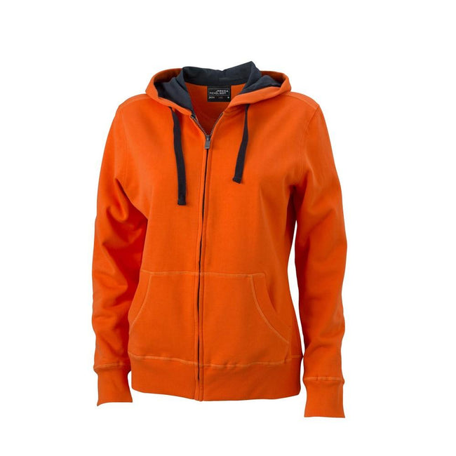 Dark Orange-Carbon - Front - James and Nicholson Womens-Ladies Hooded Jacket