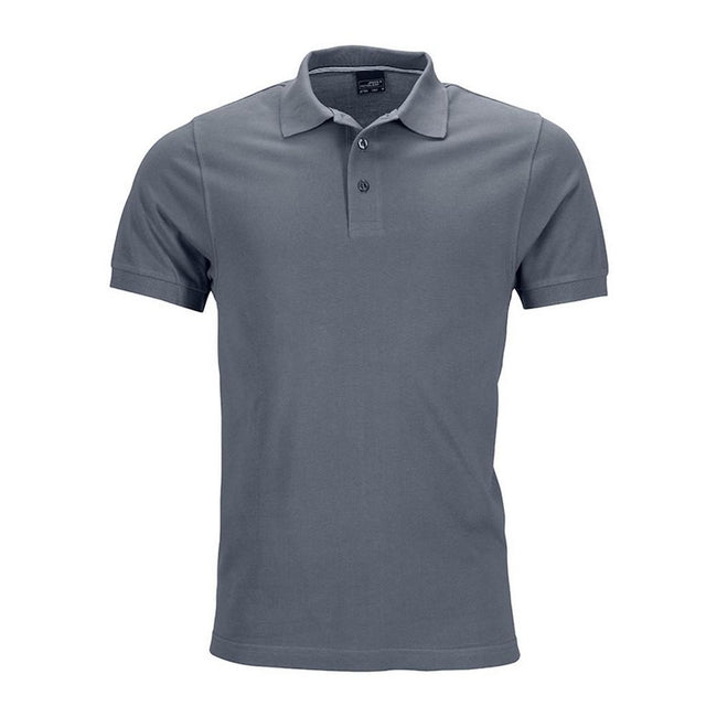 Carbon Grey - Front - James and Nicholson Mens Pima Polo