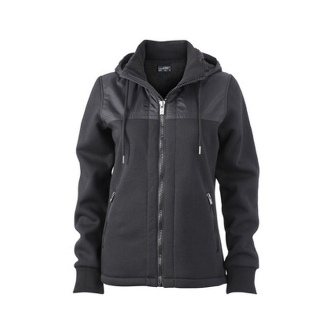 Black-Black - Front - James and Nicholson Womens-Ladies Teddy Lined Jacket