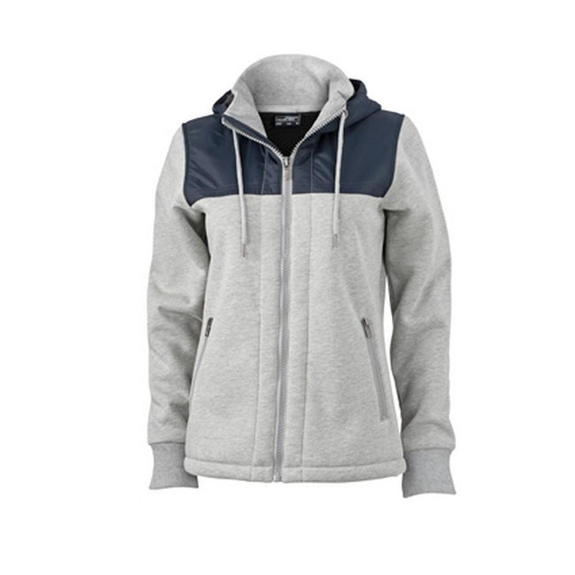 Sports Grey-Navy - Front - James and Nicholson Womens-Ladies Teddy Lined Jacket