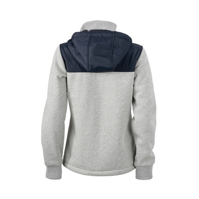 Sports Grey-Navy - Back - James and Nicholson Womens-Ladies Teddy Lined Jacket