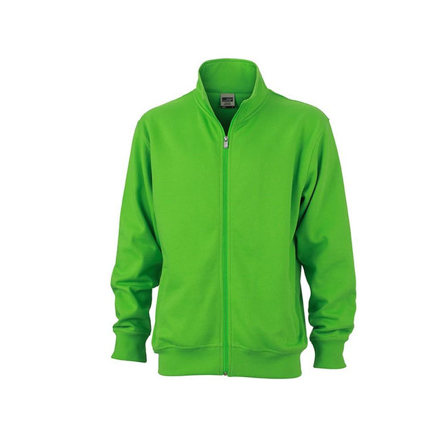 Lime Green - Front - James and Nicholson Unisex Workwear Sweat Jacket