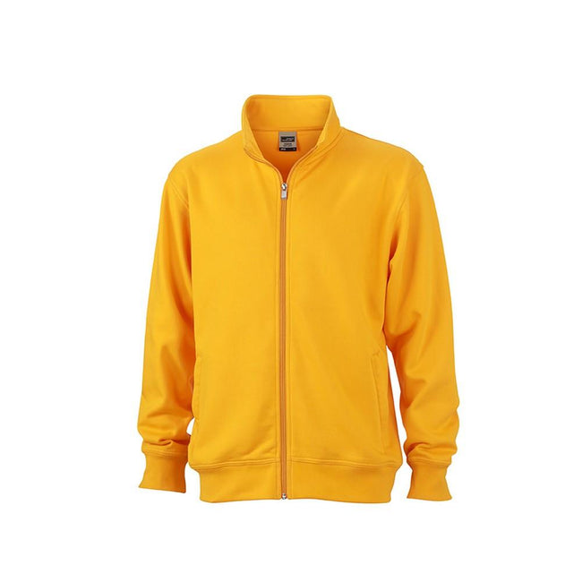 Gold Yellow - Front - James and Nicholson Unisex Workwear Sweat Jacket