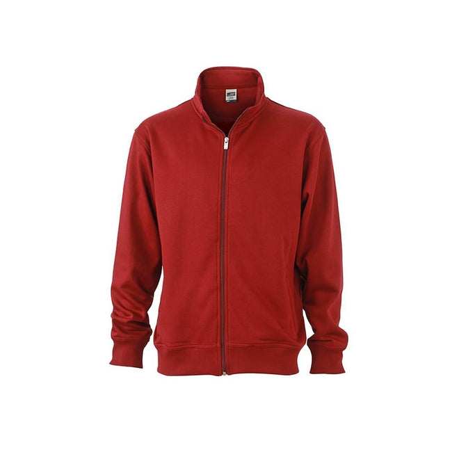 Red Wine - Front - James and Nicholson Unisex Workwear Sweat Jacket