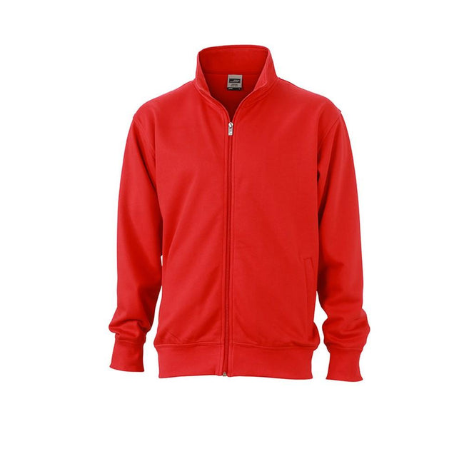 Red - Front - James and Nicholson Unisex Workwear Sweat Jacket