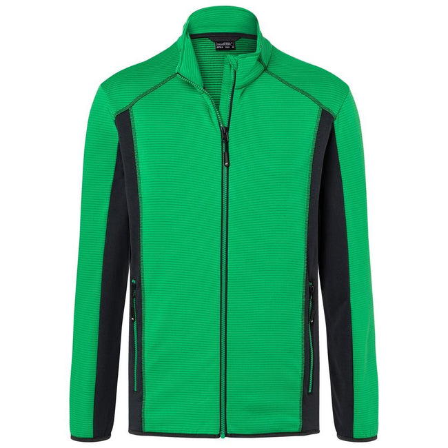Fern Green-Carbon - Front - James and Nicholson Mens Structure Fleece Jacket