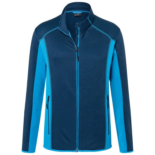 Navy-Bright Blue - Front - James and Nicholson Mens Structure Fleece Jacket