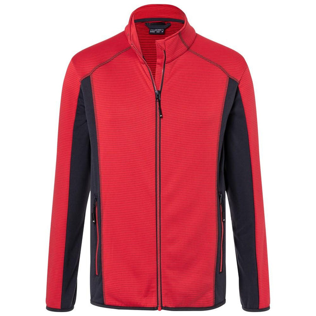 Red-Carbon - Front - James and Nicholson Mens Structure Fleece Jacket