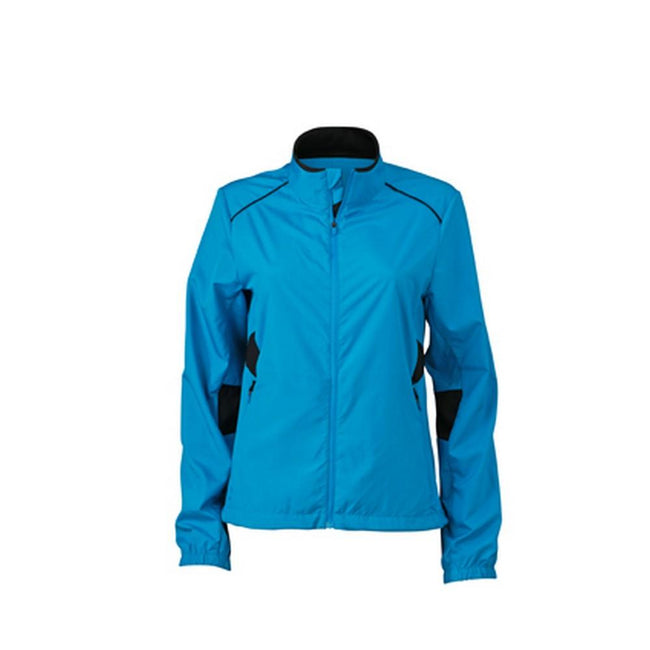 Atlantic Blue-Black - Front - James and Nicholson Womens-Ladies Performance Jacket