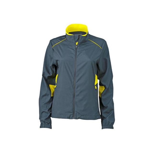 Iron Grey-Lemon - Front - James and Nicholson Womens-Ladies Performance Jacket