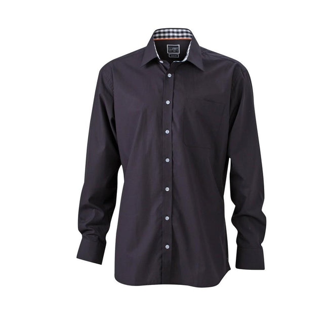 Black - Front - James and Nicholson Mens Plain Shirt