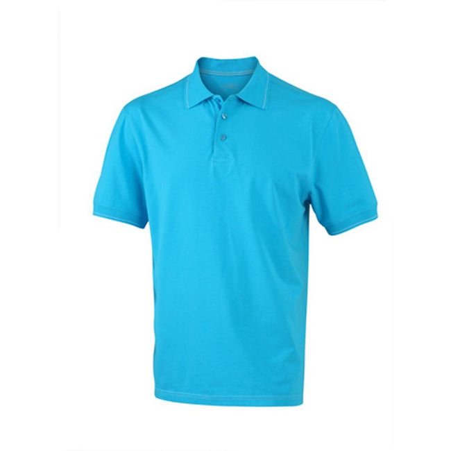Aqua Blue-White - Front - James and Nicholson Mens Elastic Polo