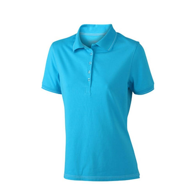 Aqua Blue-White - Front - James and Nicholson Womens-Ladies Elastic Polo