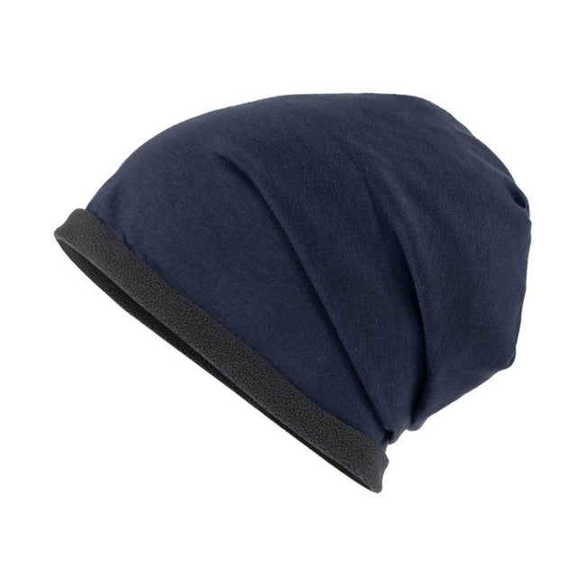 Navy-Carbon Grey - Front - Myrtle Beach Adults Unisex Single Beanie