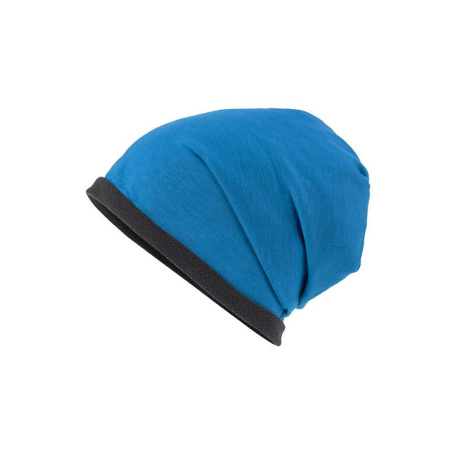 Bright Blue-Carbon Grey - Front - Myrtle Beach Adults Unisex Single Beanie