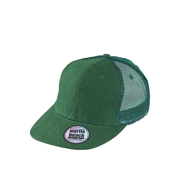Dark Green - Front - Myrtle Beach Adults Unisex 6 Panel Flat Peak Cap