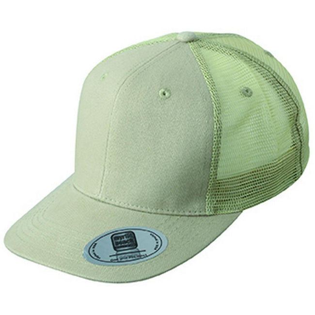 Khaki Green - Front - Myrtle Beach Adults Unisex 6 Panel Flat Peak Cap