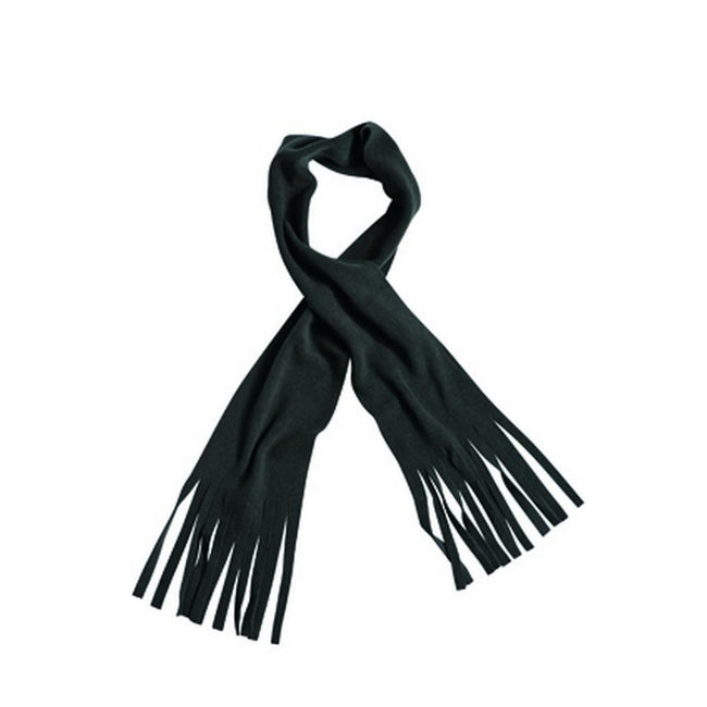 Black - Front - Myrtle Beach Adults Unisex Fringe Fleece Scarf
