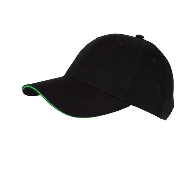 Black-Lime Green - Front - Myrtle Beach Adults Unisex 6 Panel Brushed Sandwich Cap