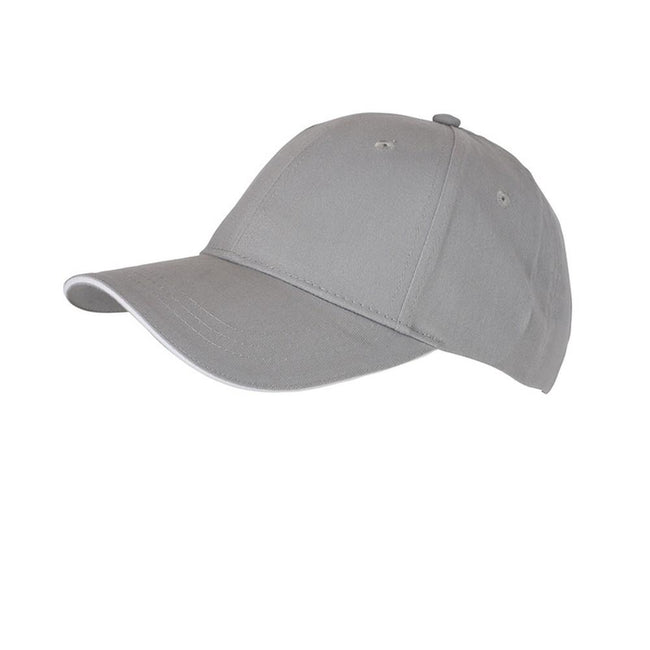 Light Grey-White - Front - Myrtle Beach Adults Unisex 6 Panel Brushed Sandwich Cap