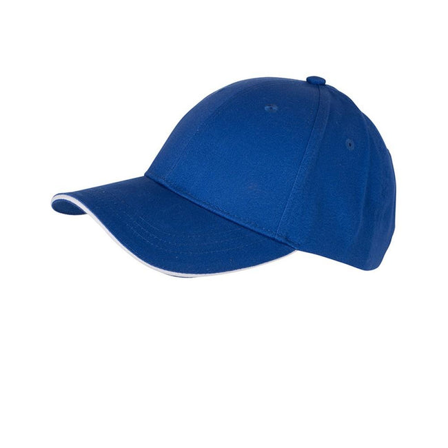 Royal Blue-White - Front - Myrtle Beach Adults Unisex 6 Panel Brushed Sandwich Cap