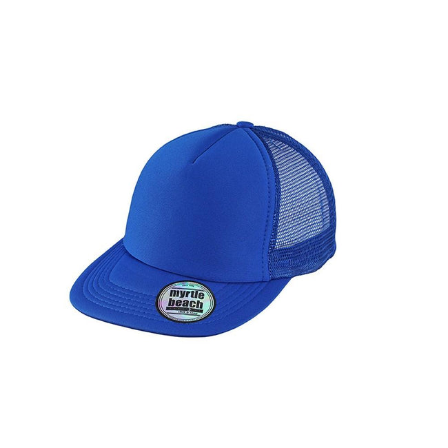 Royal Blue - Front - Myrtle Beach Adults Unisex 5 Panel Mesh Flat Peak Cap