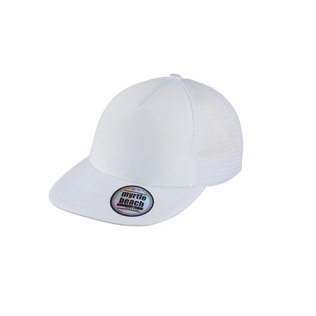 White - Front - Myrtle Beach Adults Unisex 5 Panel Mesh Flat Peak Cap