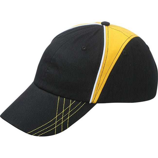 Black-Gold Yellow-White - Front - Myrtle Beach Adults Unisex 6 Panel Arrow Cap