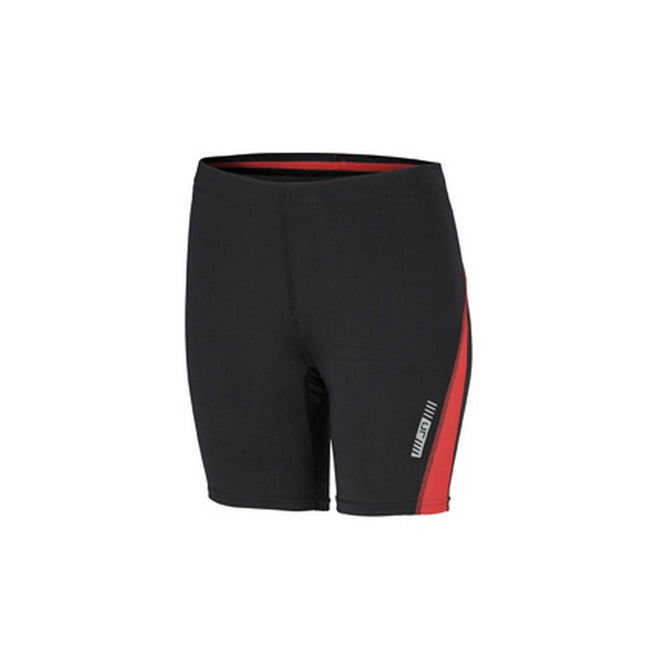 Black-Tomato Red - Front - James and Nicholson Womens-Ladies Running Short Tights