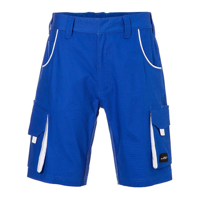Royal Blue-White - Front - James and Nicholson Unisex Workwear Bermudas Level 2