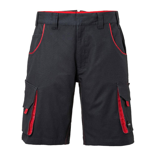 Carbon Grey-Red - Front - James and Nicholson Unisex Workwear Bermudas Level 2
