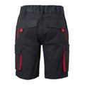 Carbon Grey-Red - Back - James and Nicholson Unisex Workwear Bermudas Level 2