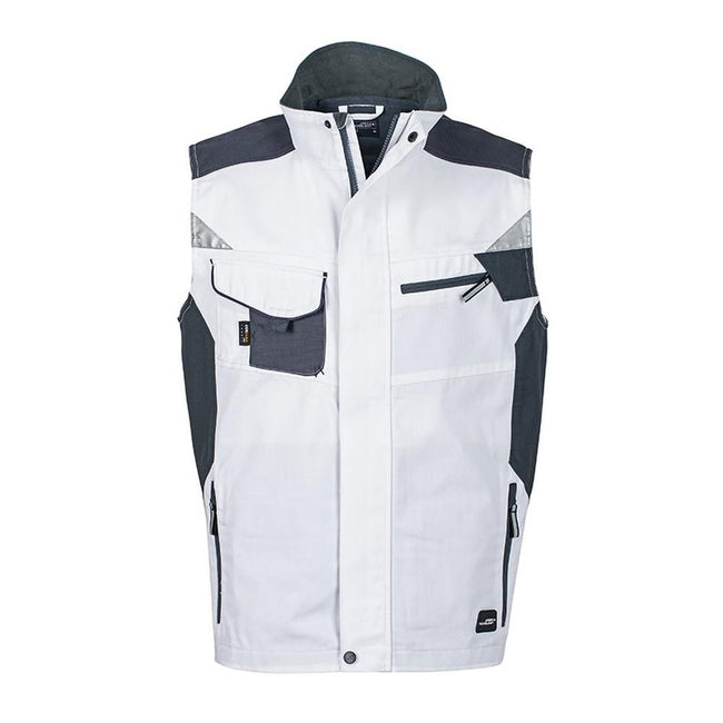 White-Carbon Grey - Front - James and Nicholson Unisex Workwear Vest