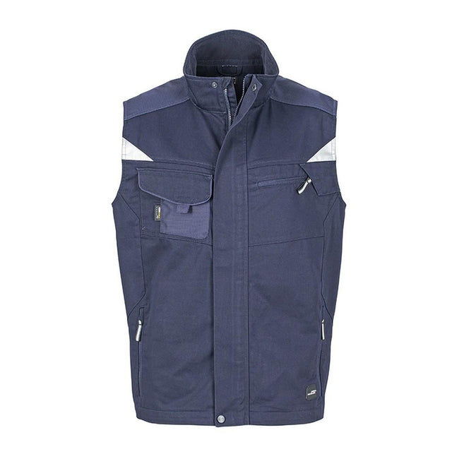 Navy-Navy - Front - James and Nicholson Unisex Workwear Vest