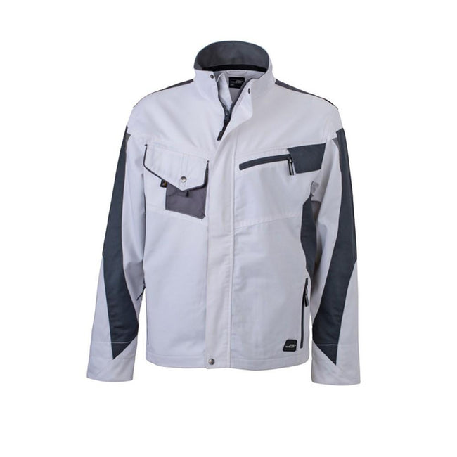 White-Carbon Grey - Front - James and Nicholson Unisex Workwear Jacket
