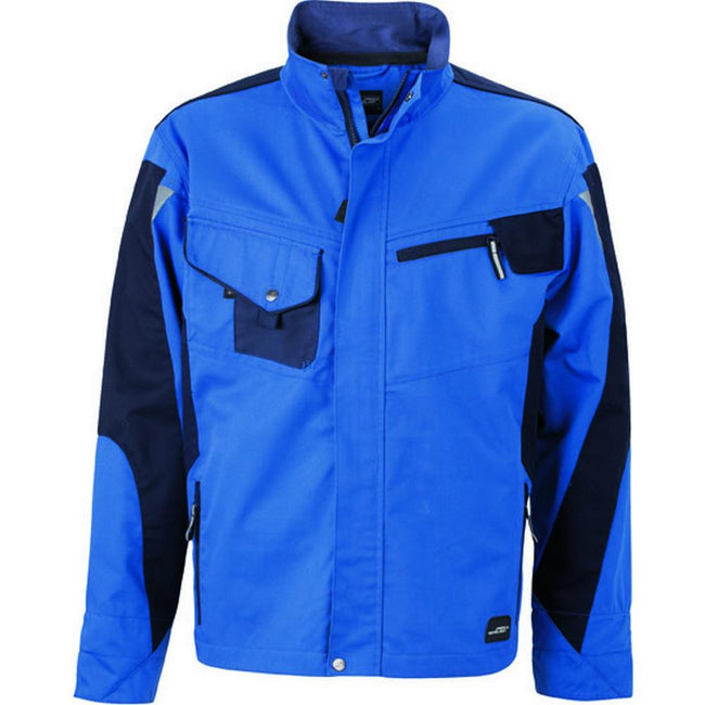 Royal Blue-Navy - Front - James and Nicholson Unisex Workwear Jacket