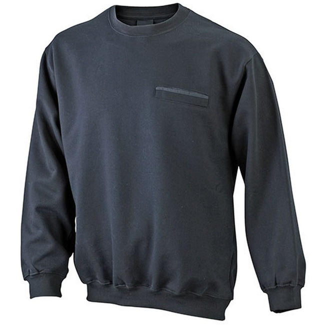 Black - Front - James and Nicholson Mens Round Pocket Sweatshirt